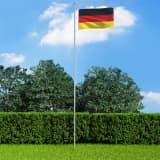 vidaXL Tysk flagg og stang aluminium 6,2 m