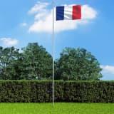 vidaXL Fransk flagg og stang aluminium 6,2 m