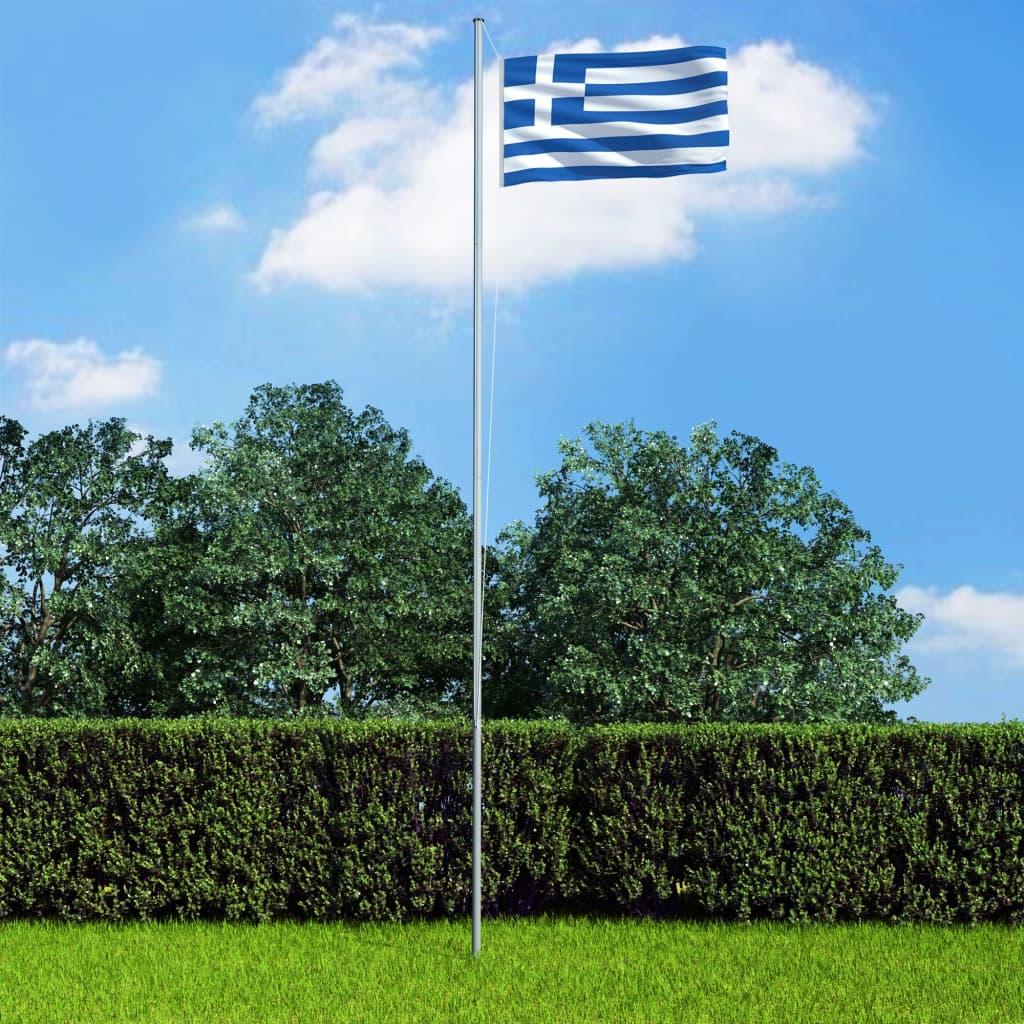 vidaXL Řecká vlajka a stožár hliník 6,2 m