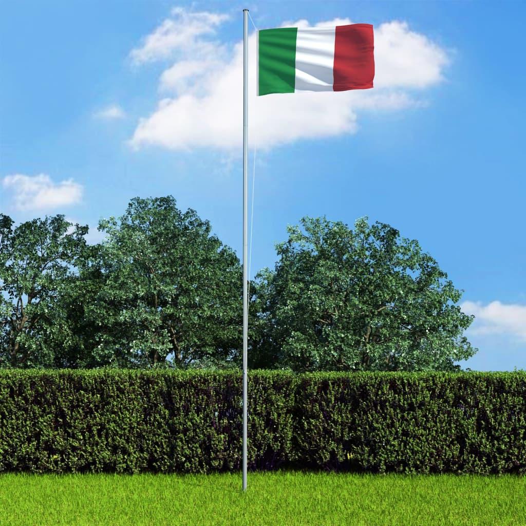 vidaXL Italská vlajka a stožár hliník 6,2 m