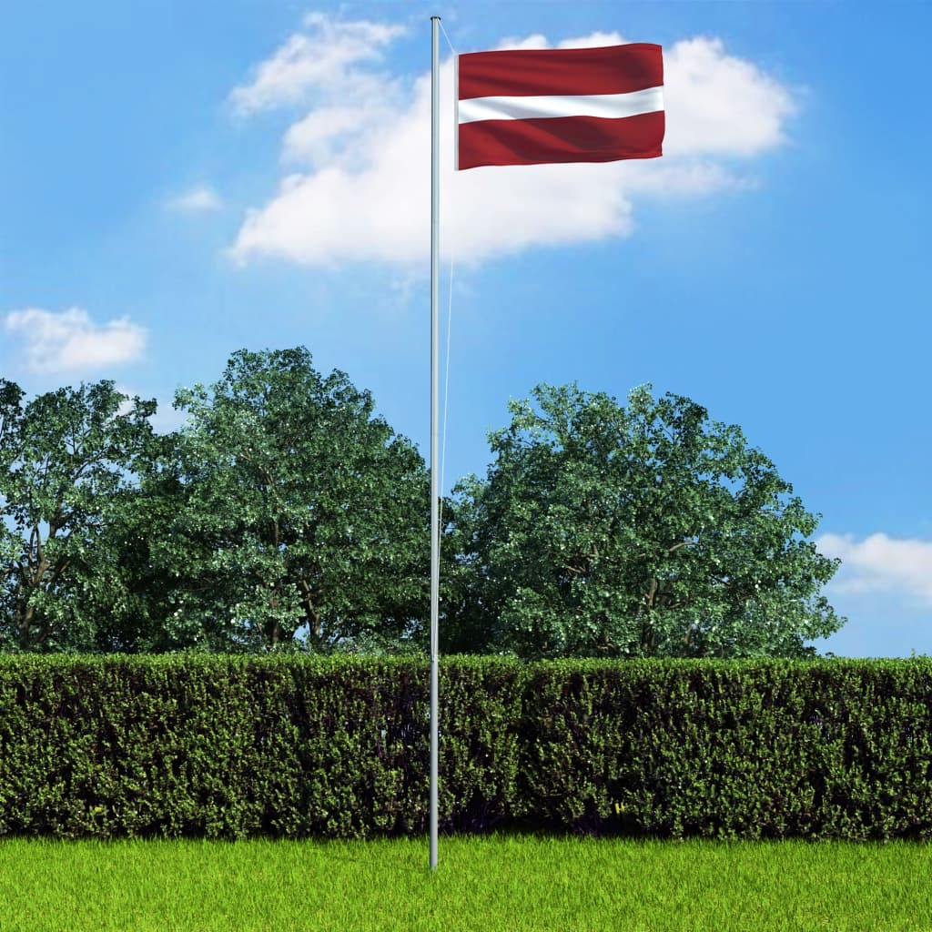 vidaXL Lotyšská vlajka a stožár hliník 6,2 m