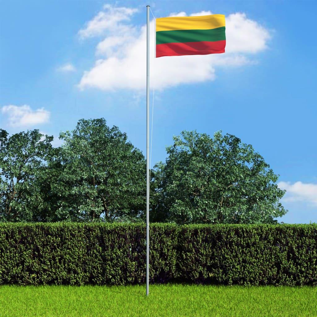 vidaXL Drapel Lituania și stâlp din aluminiu, 6,2 m poza vidaxl.ro