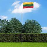 vidaXL Vlag met vlaggenmast Litouwen 6,2 m aluminium
