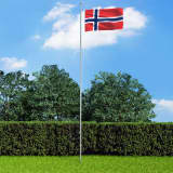 vidaXL Norges flagga och flaggstång i aluminium 6,2 m