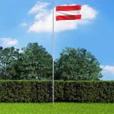 vidaXL Österrikes flagga och flaggstång i aluminium 6,2 m