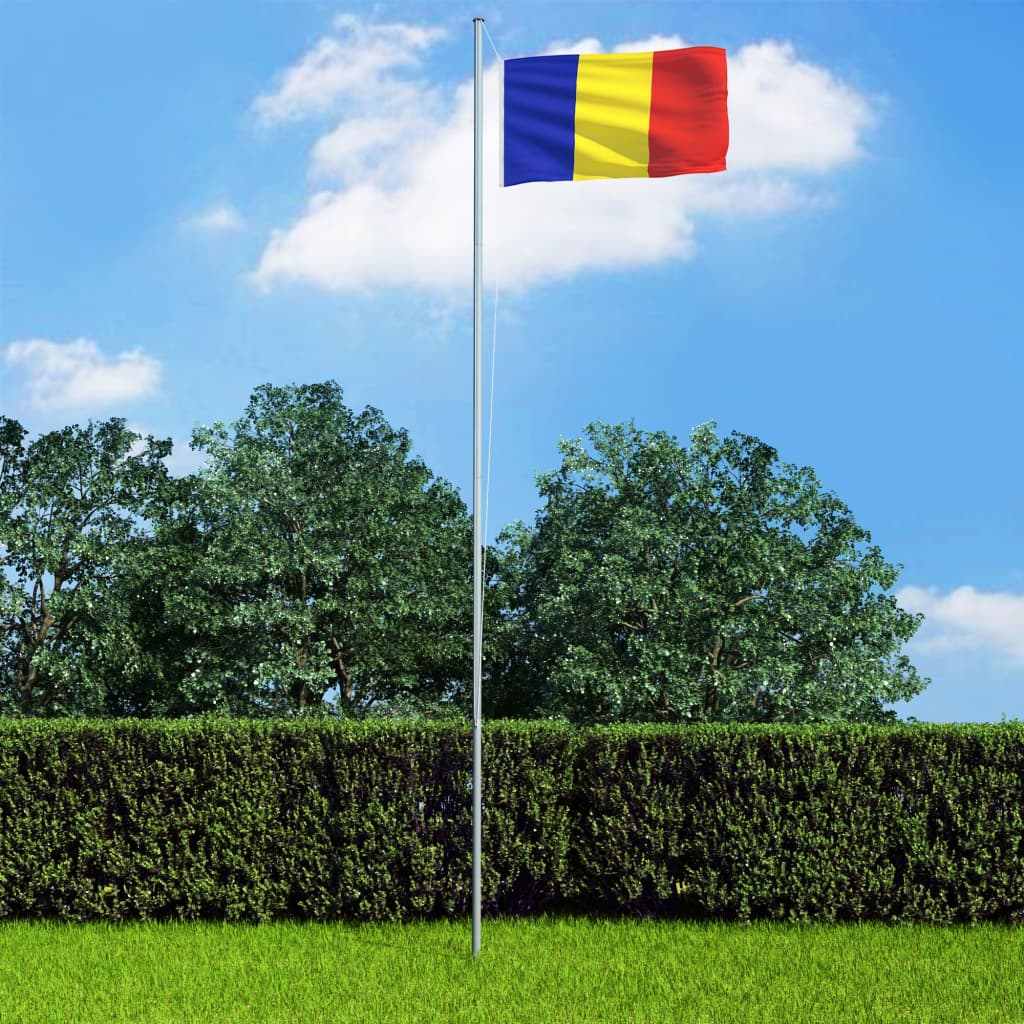 vidaXL Drapel România și stâlp din aluminiu, 6,2 m poza vidaxl.ro