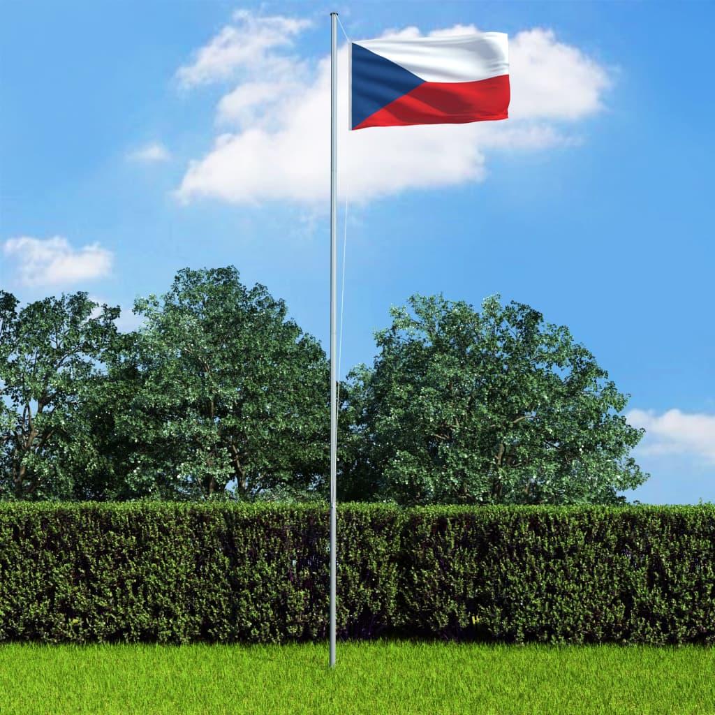 vidaXL Steag Cehia și stâlp din aluminiu, 6,2 m poza vidaxl.ro