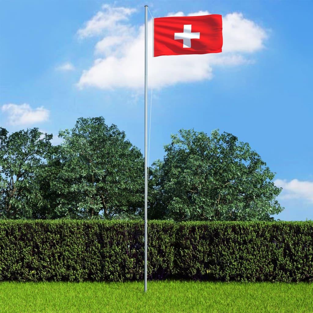 vidaXL Steag Elveția și stâlp din aluminiu, 6,2 m poza 2021 vidaXL