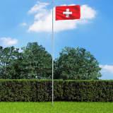 vidaXL Schweiz flagga och flaggstång i aluminium 6,2 m