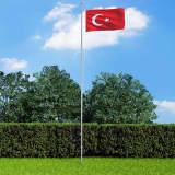 vidaXL Tyrkisk flagg og stang aluminium 6,2 m