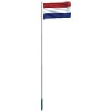 vidaXL Nederlandsk flagg og stang aluminium 6 m