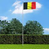 vidaXL Vlag met vlaggenmast België 6 m aluminium