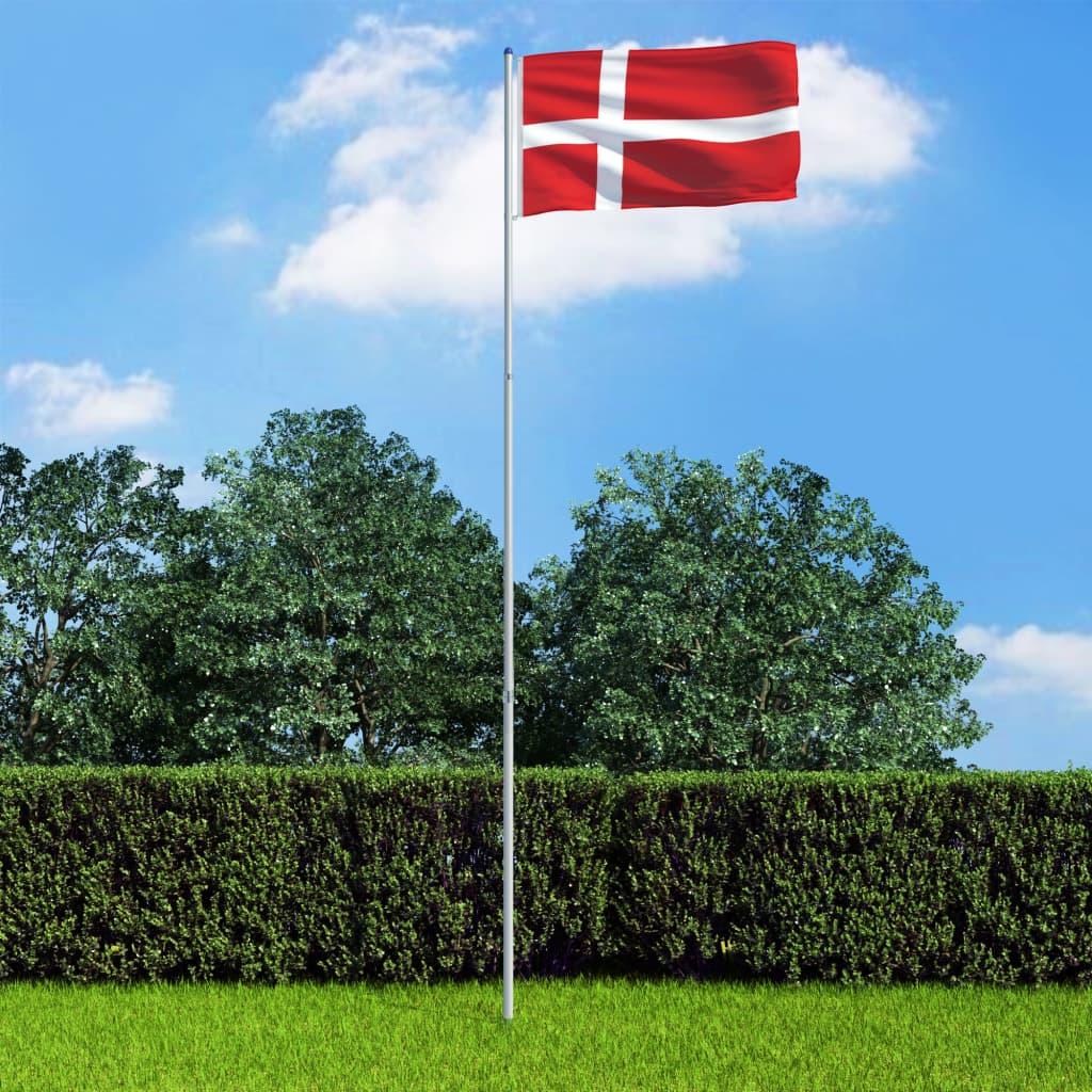 vidaXL Dánská vlajka a stožár hliník 6 m