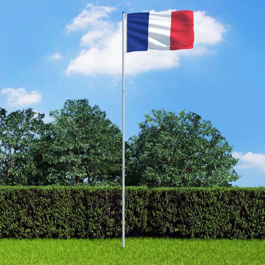 vidaXL Francouzská vlajka a stožár hliník 6 m
