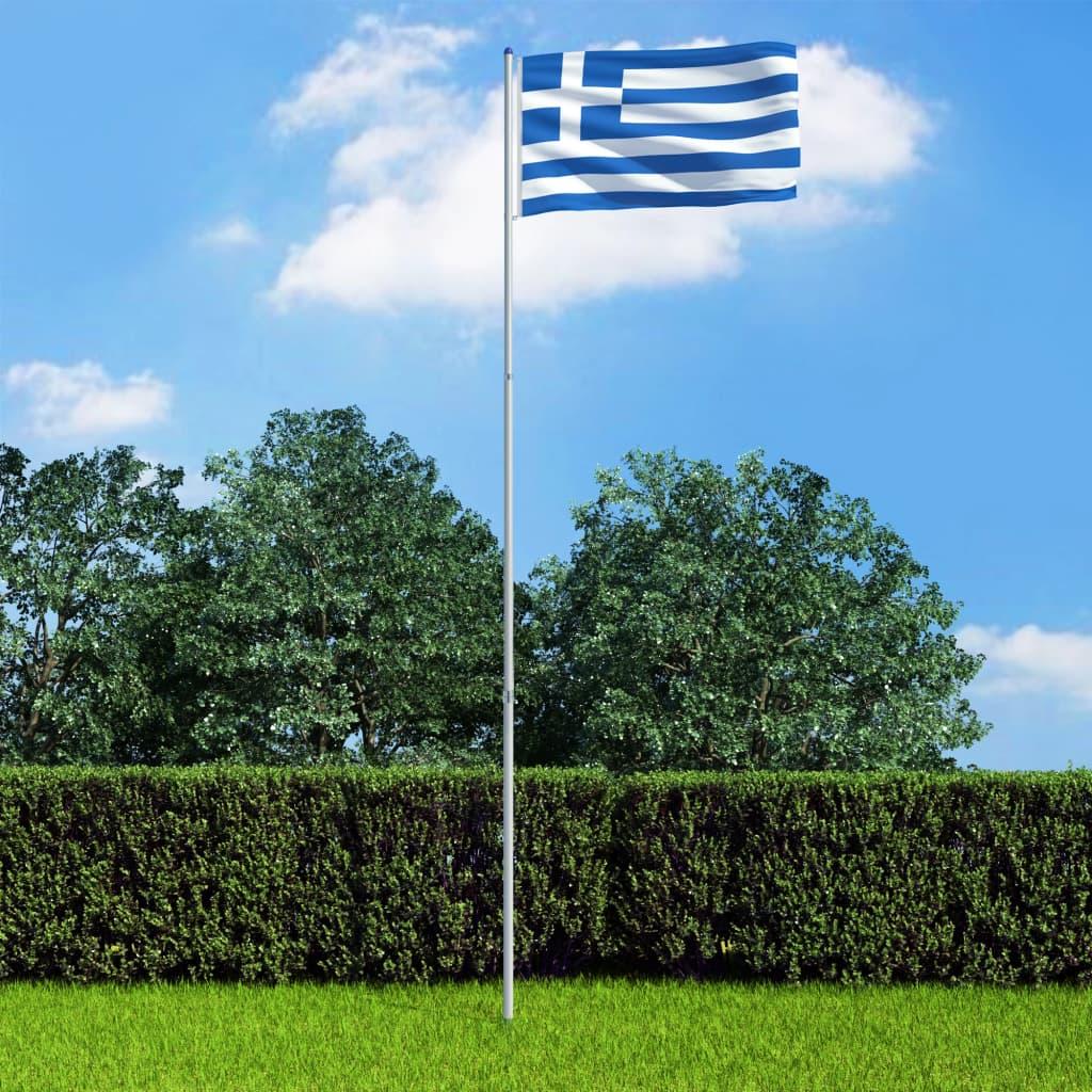 vidaXL Řecká vlajka a stožár hliník 6 m
