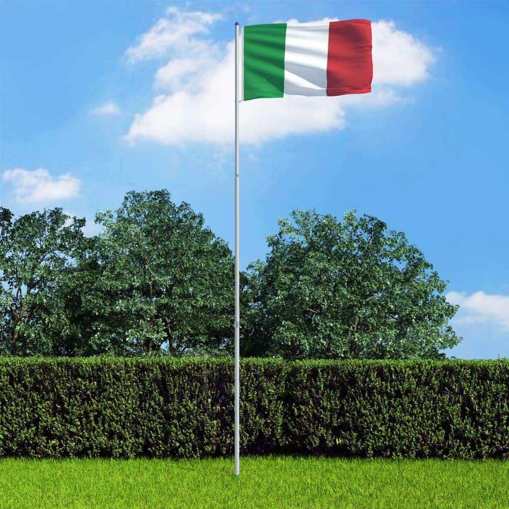 vidaXL Italská vlajka a stožár hliník 6 m