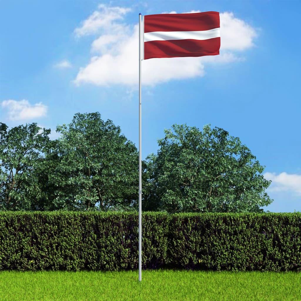 vidaXL Lotyšská vlajka a stožár hliník 6 m