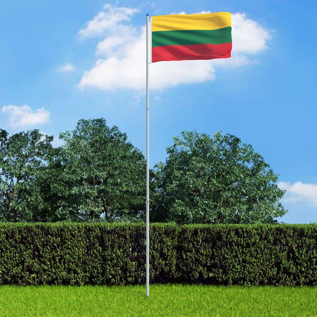 vidaXL Litevská vlajka a stožár hliník 6 m