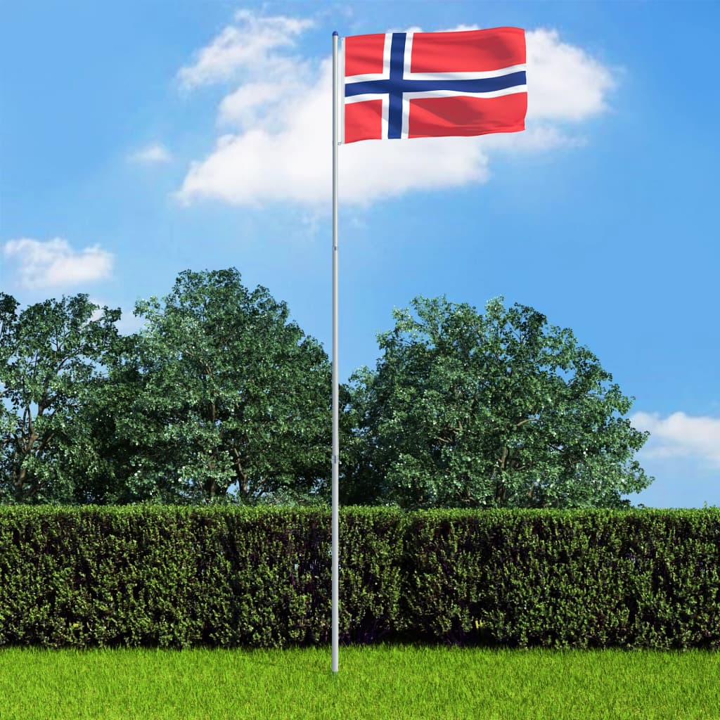 vidaXL Norská vlajka a stožár hliník 6 m