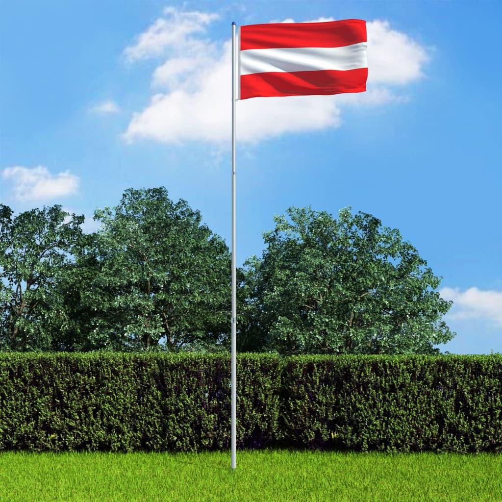vidaXL Rakouská vlajka a stožár hliník 6 m