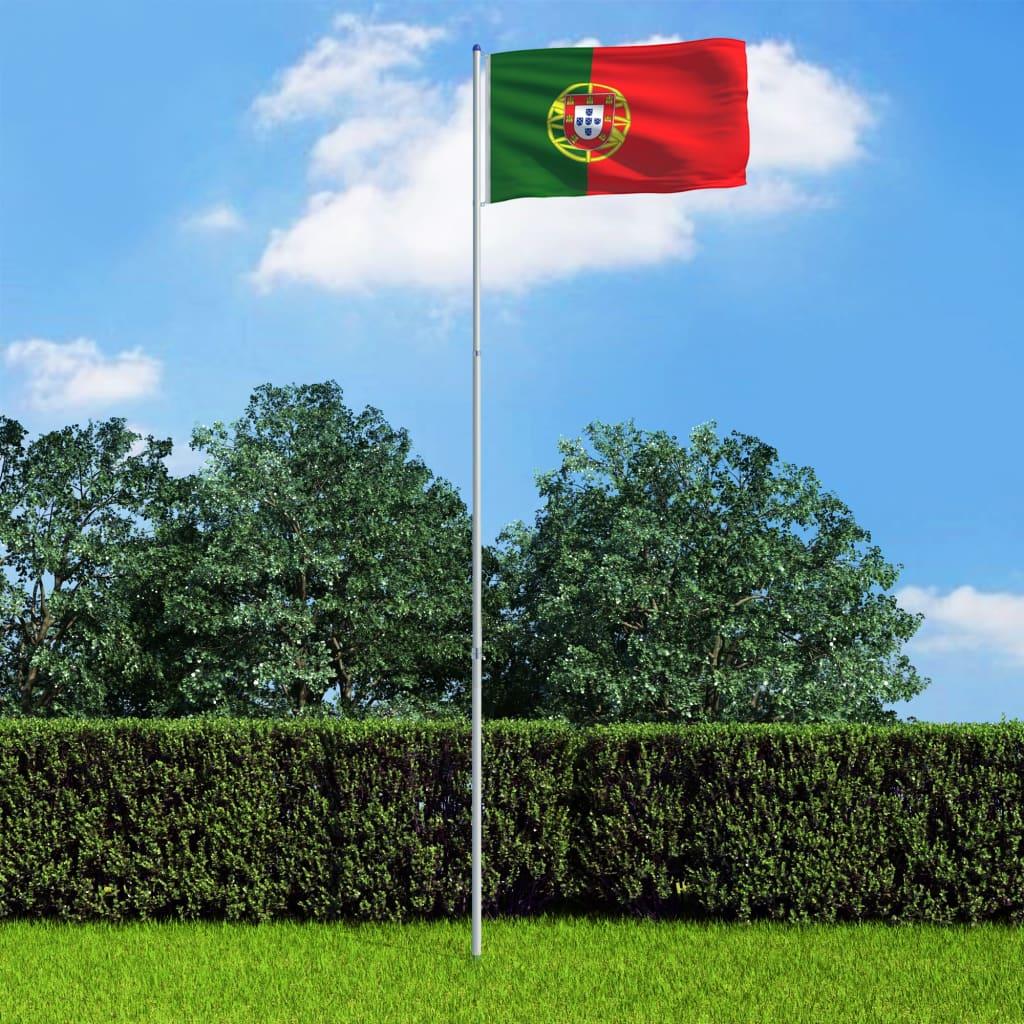 vidaXL Portugalská vlajka a stožár hliník 6 m