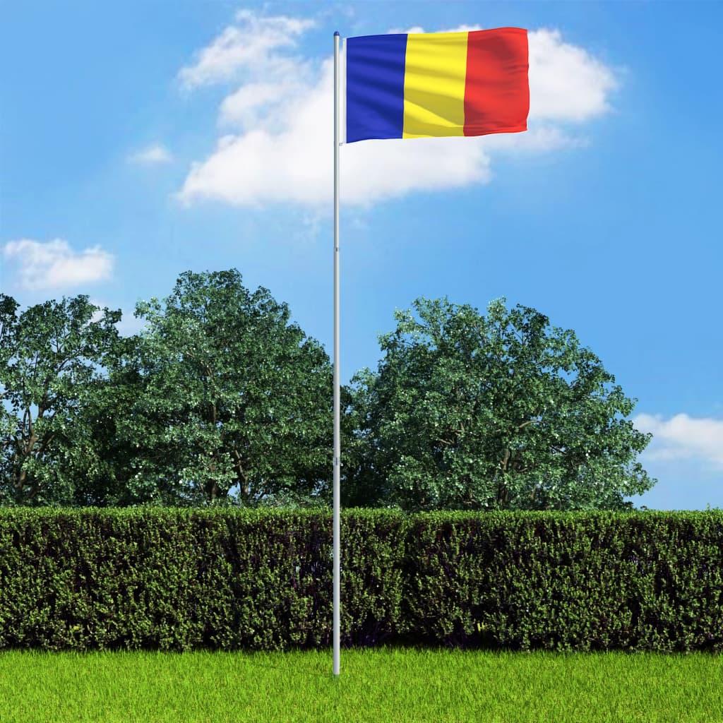 vidaXL Rumunská vlajka a stožár hliník 6 m