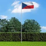 vidaXL Tjeckiens flagga och flaggstång i aluminium 6 m