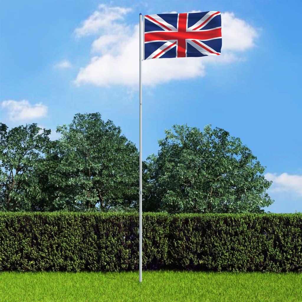 vidaXL Steag Marea Britanie și stâlp din aluminiu 6 m poza vidaxl.ro