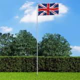 vidaXL Storbritanniens flagga och flaggstång i aluminium 6 m