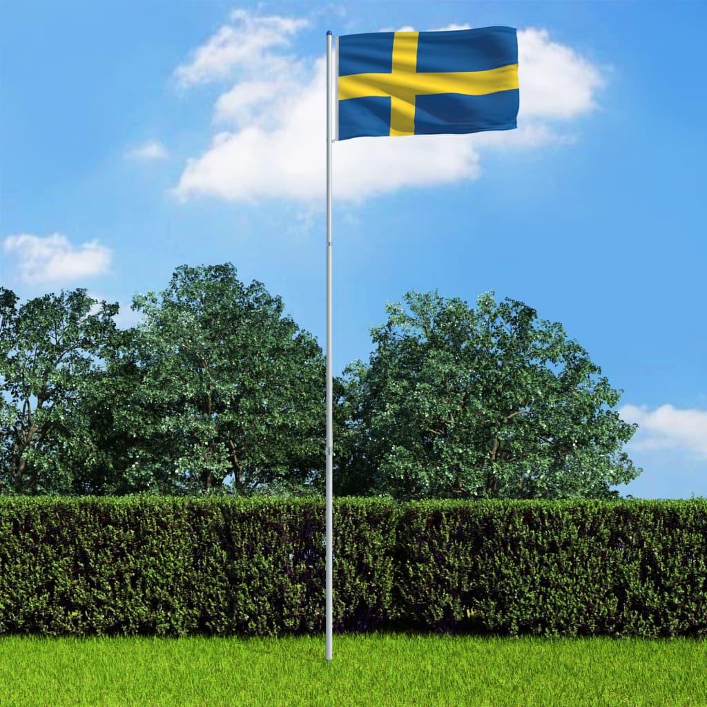 vidaXL Švédská vlajka a stožár hliník 6 m