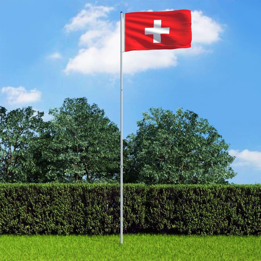 vidaXL Švýcarská vlajka a stožár hliník 6 m