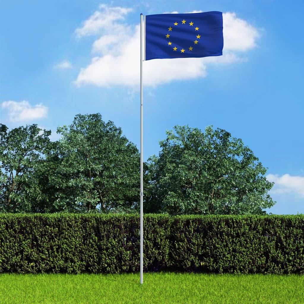 vidaXL Vlajka Evropské unie a stožár hliník 6 m