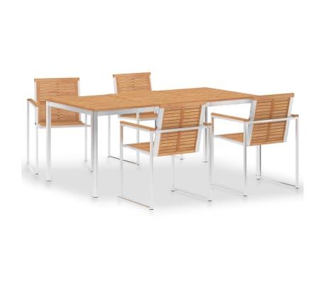 vidaXL spisebordssæt 5 dele massivt teaktræ og rustfrit stål