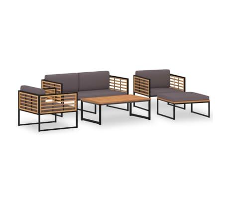 vidaXL 5 Piece Garden Lounge Set Solid Acacia Wood and Steel