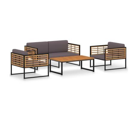 vidaXL 4 Piece Garden Lounge Set Solid Acacia Wood and Steel