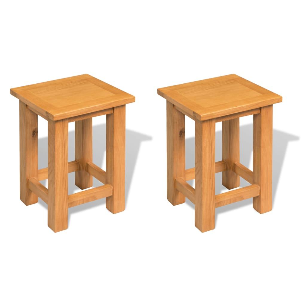 vidaXL 2 db tömör tölgyfa kisasztal 27 x 24 x 37 cm