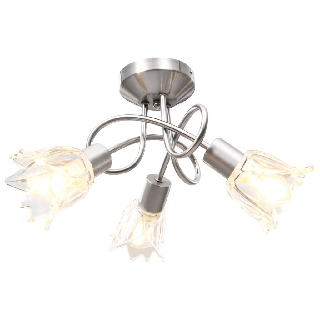 Stropní lampa průhledná skleněná stínidla 3 žárovky E14 tulipán