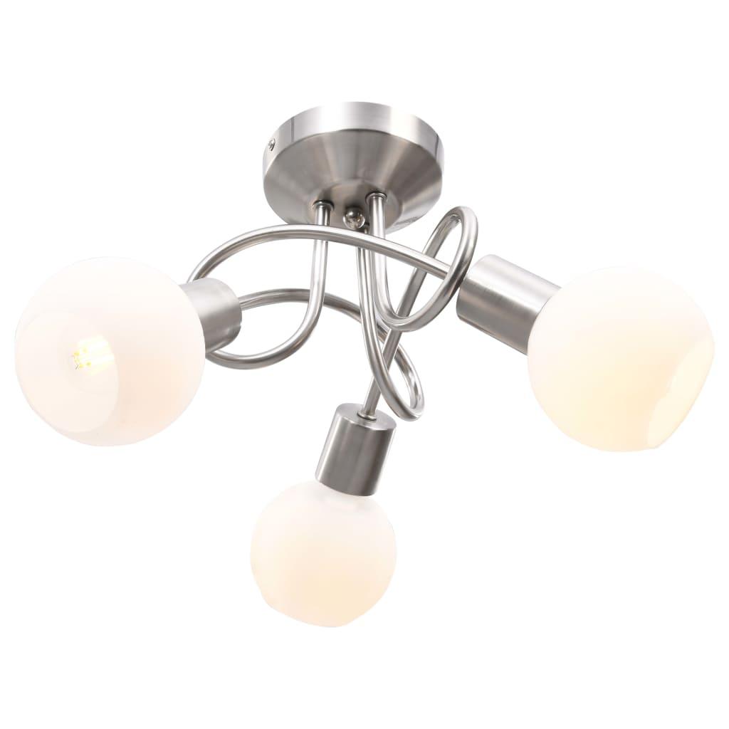 Stropní svítidlo keramická stínidla na 3 žárovky E14 bílé koule