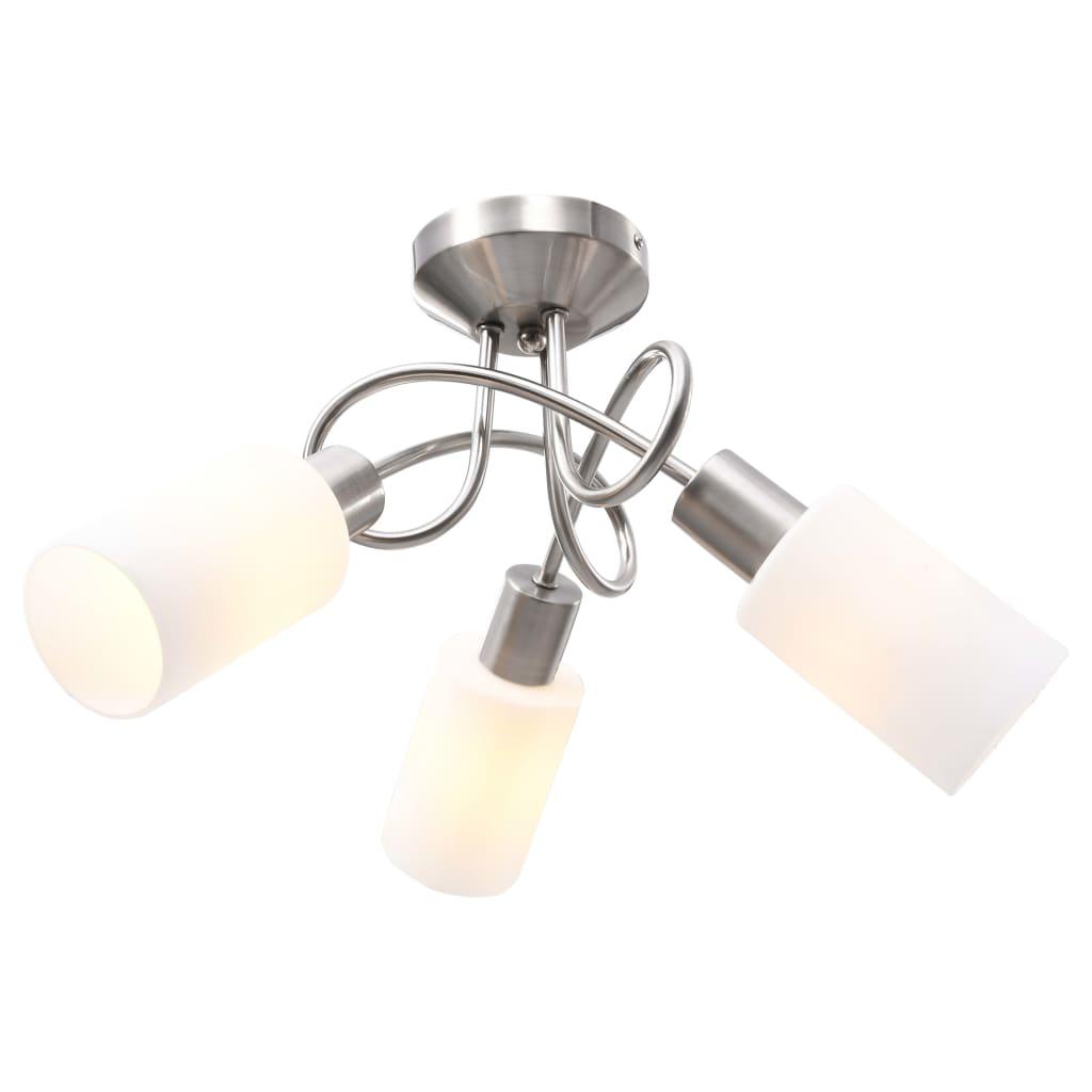 Stropní svítidlo keramická stínidla 3 žárovky E14 bílé válce
