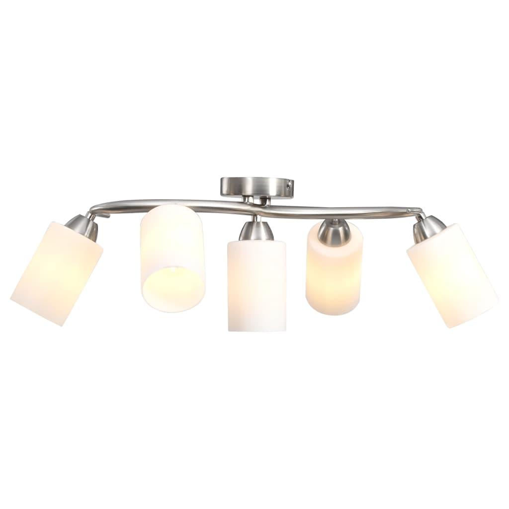 Stropní svítidlo s keramickými stínidly na 5 žárovek E14 bílé