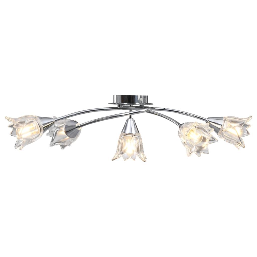 Stropní lampa průhledná skleněná stínidla 5 žárovek E14 tulipán