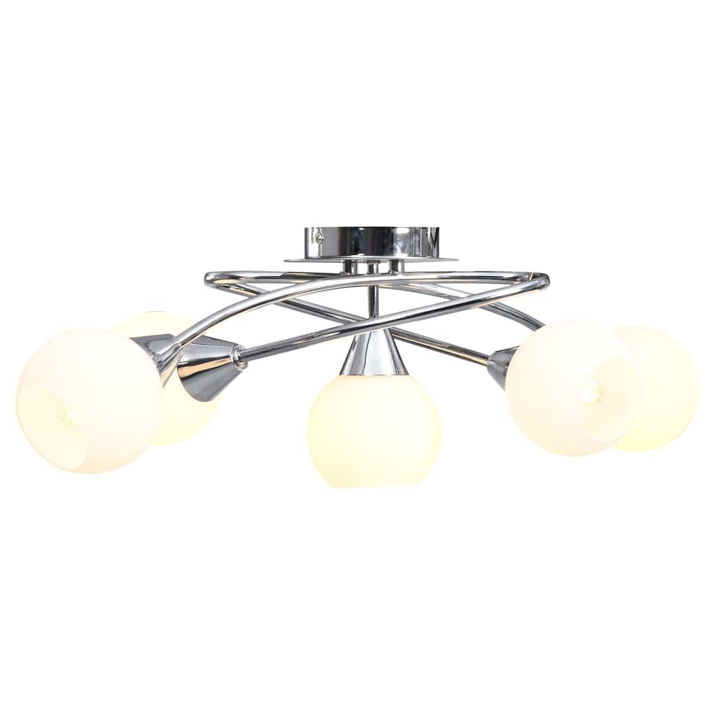 Stropní svítidlo keramická stínidla na 5 žárovek E14 bílé koule