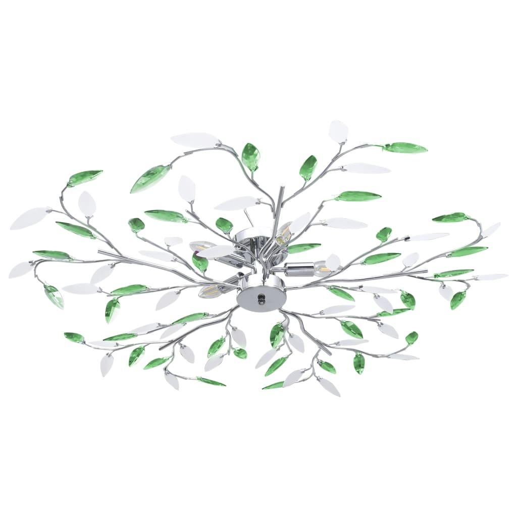 Stropní svítidlo s akrylovými lístky pro 5 žárovek E14 zelené