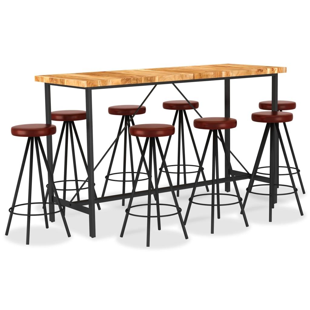 vidaXL 9-dijelni barski set od masivnog bagremovog drva i prave kože