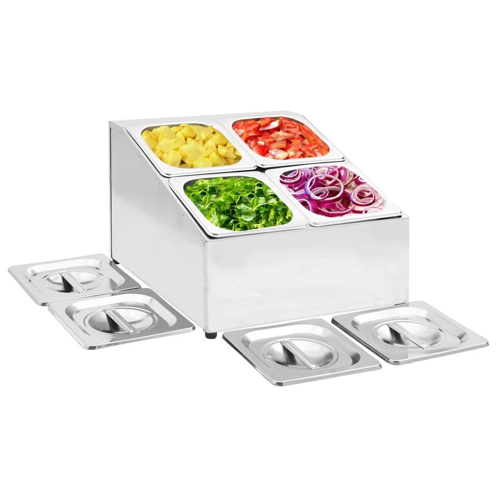 vidaXL Recipient Gastronorm cu 4 secțiuni GN 1/6 oțel inoxidabil imagine vidaxl.ro