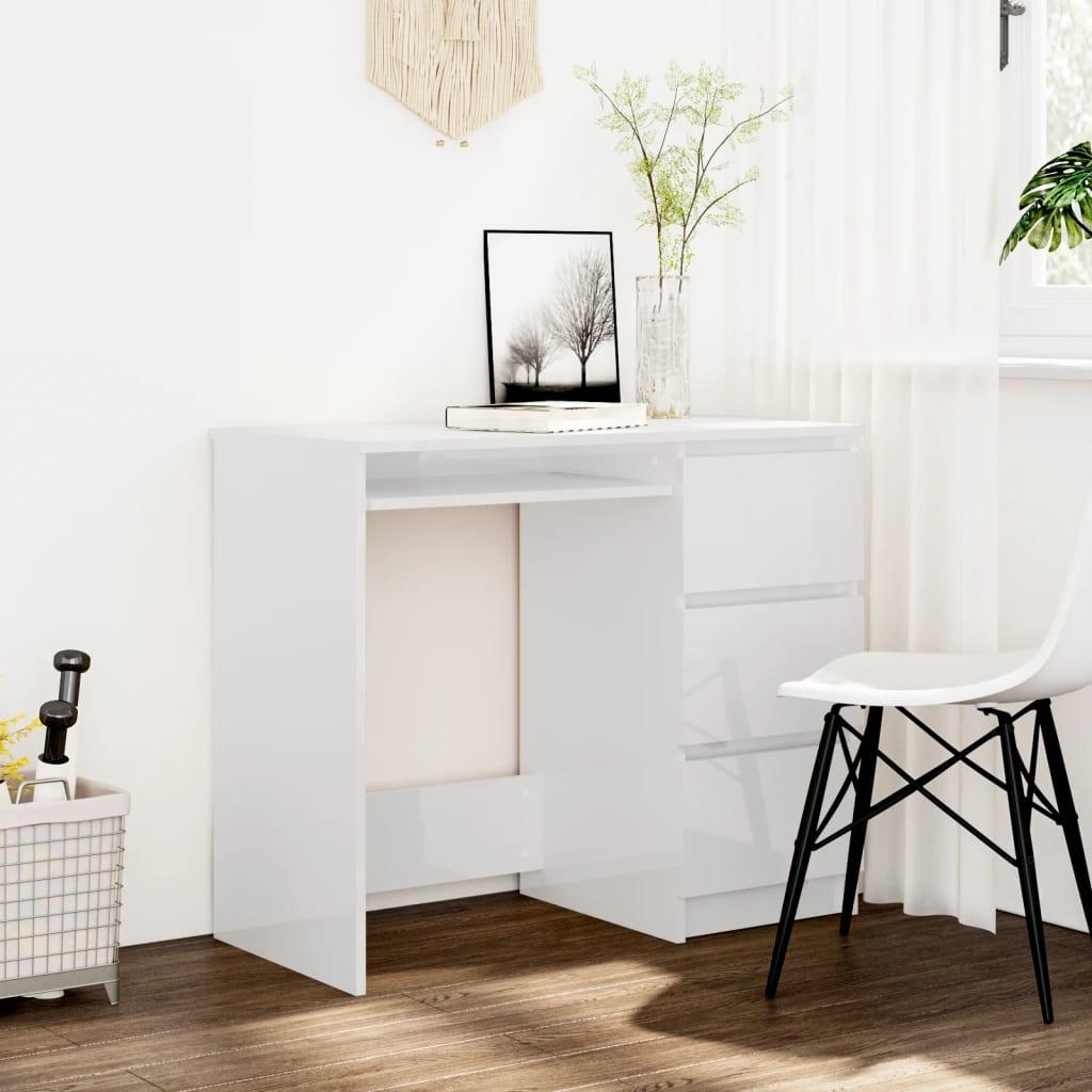 Psací stůl bílý s vysokým leskem 90 x 45 x 76 cm dřevotříska
