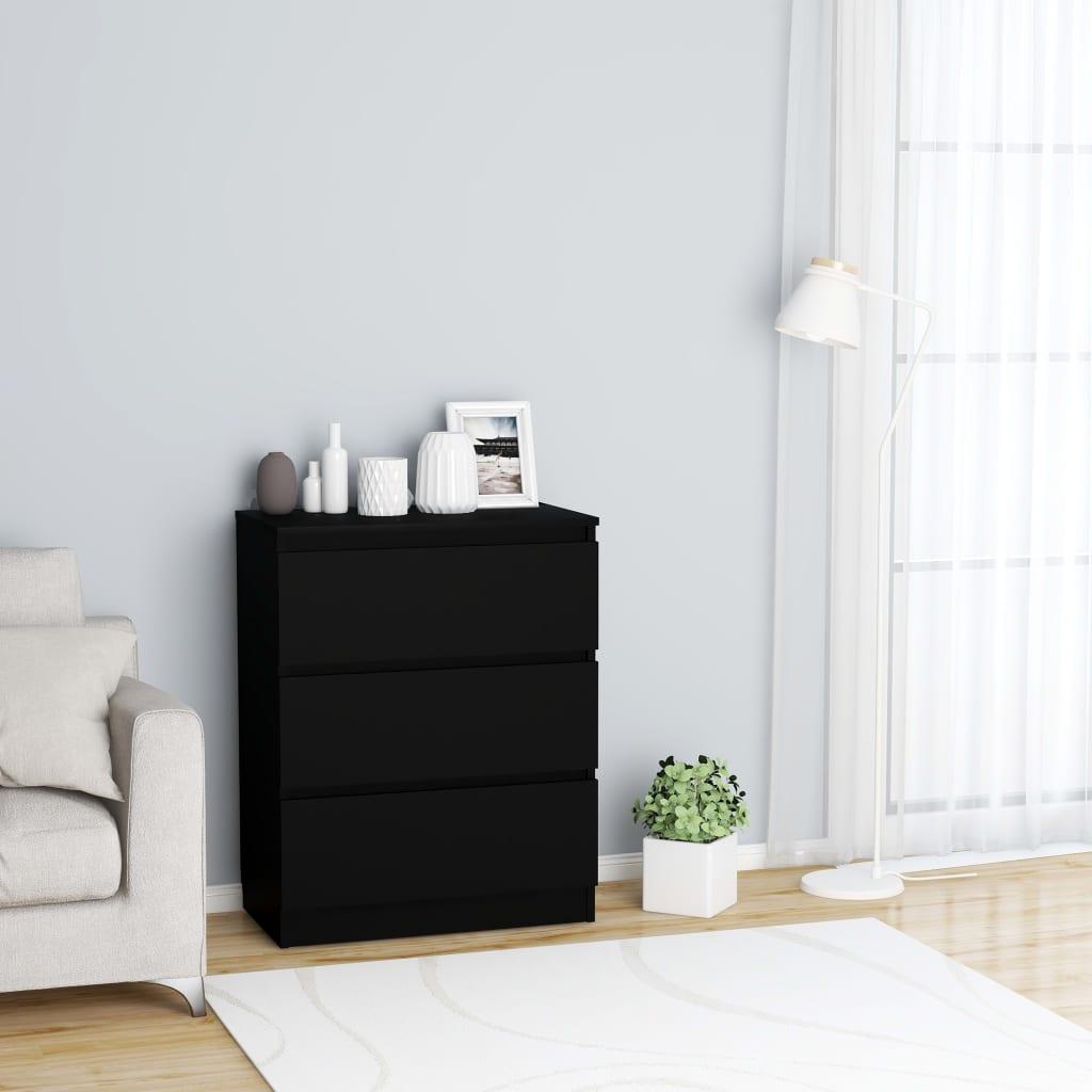 vidaXL Příborník černý 60 x 35 x 76 cm dřevotříska