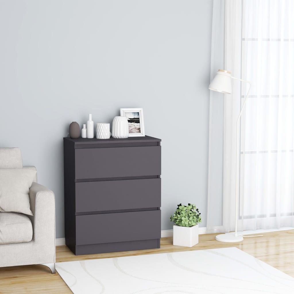 vidaXL Příborník šedý 60 x 35 x 76 cm dřevotříska