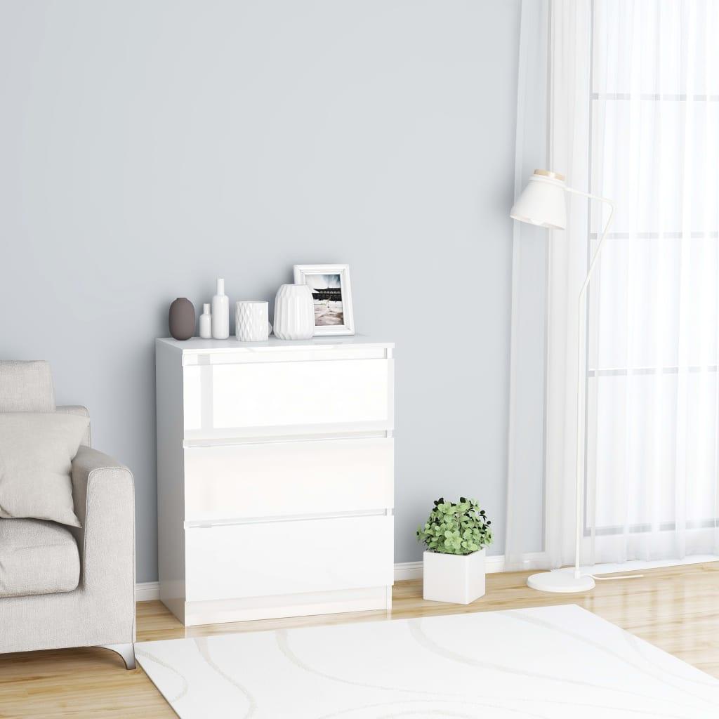 vidaXL Příborník bílý s vysokým leskem 60 x 35 x 76 cm dřevotříska