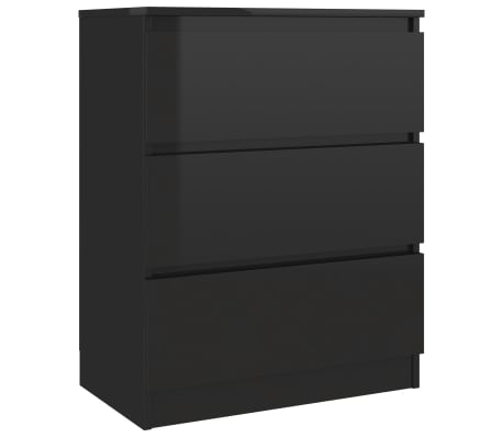 vidaXL Servantă, negru extralucios, 60 x 35 x 76 cm, PAL